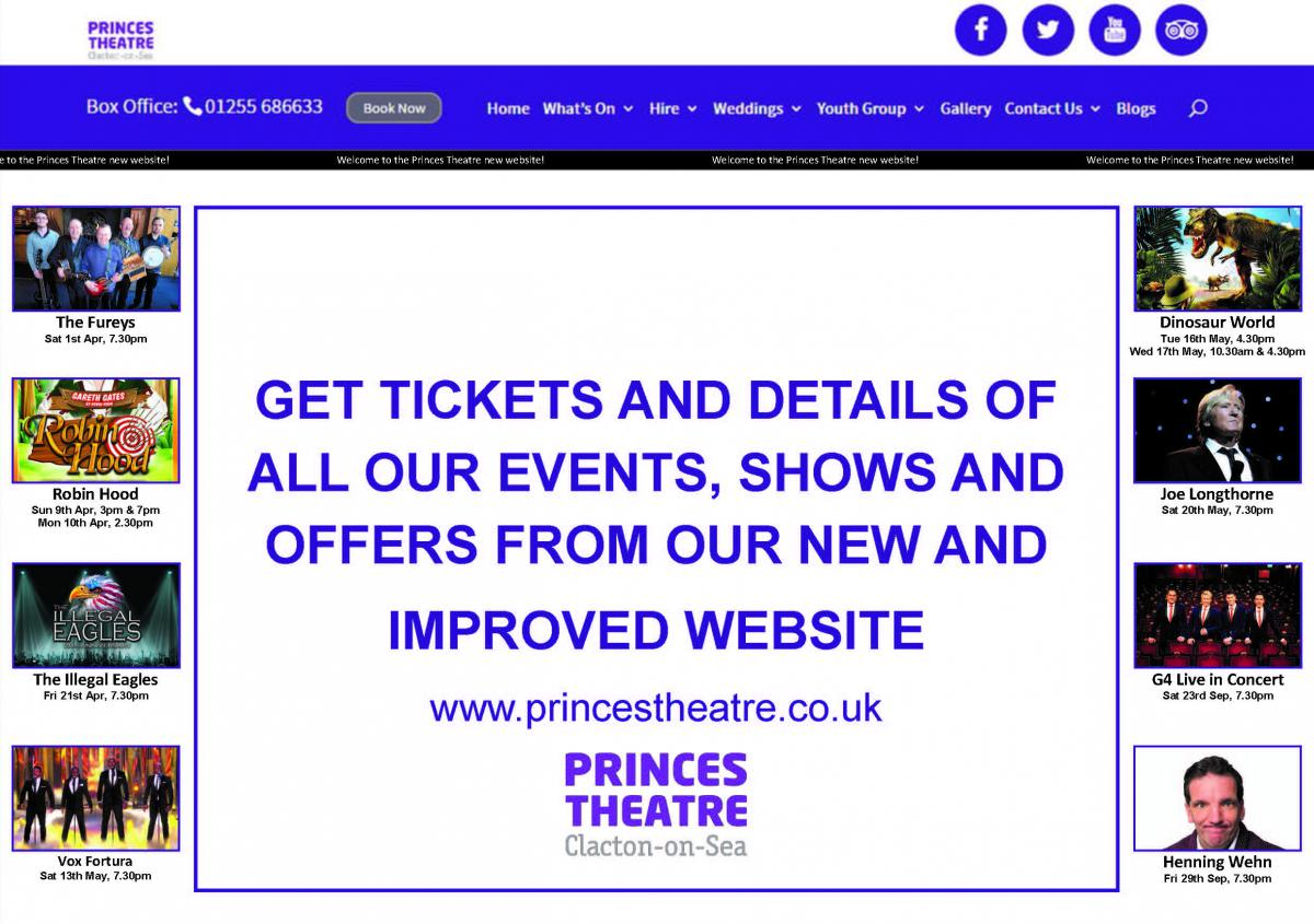 Show and event tickets and information available from Princes Theatre website www.princestheatre.co.uk