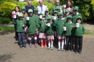 Frinton Primary School Children at the new Wildflower Bed in May 2011