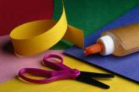 Photo of cf craft materials, coloured paper, glue and scissors