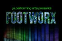 Image from Footworx poster, word 'Footworx in blue on black background