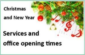 Christmas and New Year services and opening times