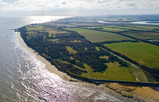 Aerial view of a part of Tendring's coastline, at The Naze, Walton