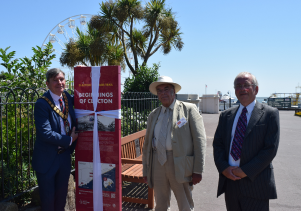 Councillor Jeff Bray Roger and Richard Walker cut ribbon on Clacton 150 Trail