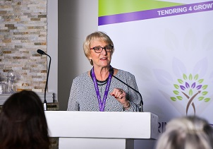 Councillor Mary Newton speaking at a business event