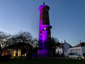 Harwich High Lighthouse lit up in purple