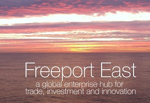Freeport East - a global enterprise hub for trade, investment and innovation written on a sunrise at sea