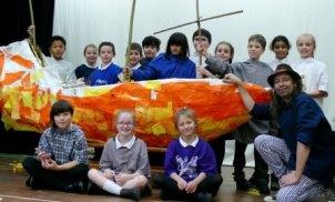 Children with their replica Mayflower ship