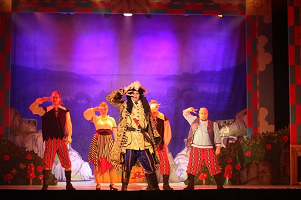 Captain Hook on the stage as part of Peter Pan at the Princes Theatre
