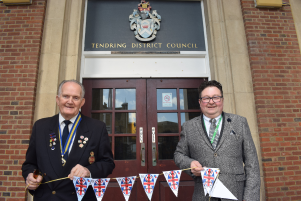 VE Day bunting appeal with Dan Casey and Councillor Chris Amos