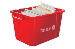red recycling box