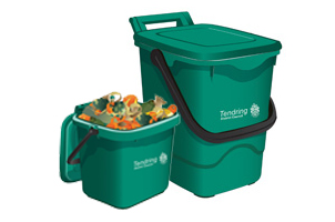 Full small food waste caddy and large food waste caddy