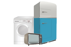 Picture of washing machine, fridge and television