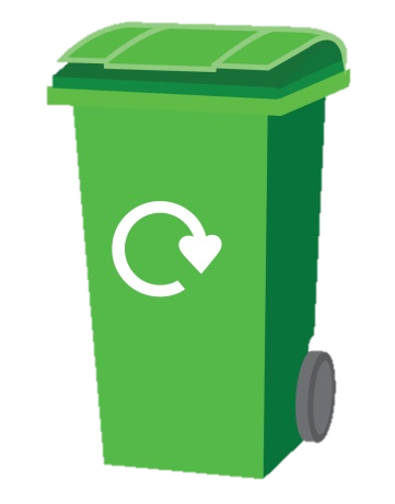 green recycling wheelie bin