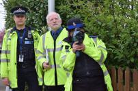 Inspector Darren Deex, Frank Belgrove, and PCSO Julia Brandon with the new Trucam