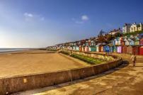 Walton beach and beach huts