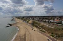 An aerial view of the new works done to the beach and cliffs at Holland on Sea