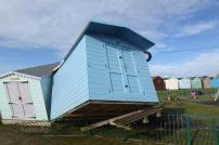 One of the displaced beach huts in Brightlingsea