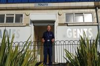 Cleaner Antony Luck pictured at the Pier Gap toilets in Clacton
