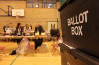 A ballot box at an election count