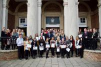 Career Track apprentices with their certificates outside Clacton Town Hall