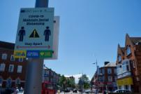 A Covid warning sign in Clacton town centre