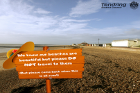 Advert encouraging people to stay away from beaches during the Coronavirus pandemic