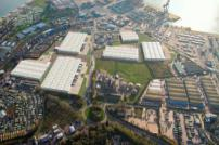 Aerial view of Felixstowe Port and Logistics Park