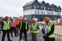 Housing Minister visits Jaywick Sands with Councillor Neil Stock, Councillor Paul Honeywood, Chris Pincher MP and Giles Watling MP