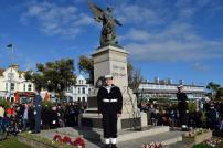 Tendring District Council Chairman Councillor Mark Platt lays a wreath at Clacton War Memorial on Remembrance Day 2018