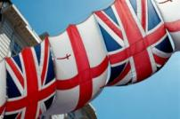 British flags against blue sky background