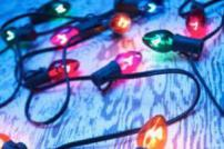 String of illuminated coloured Christmas lights