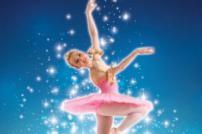 Photo of ballerina in pink tutu against a blue background