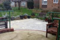 Garden and patio at a sheltered housing unit